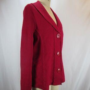 Sweaters - Herman Geist Plus Sz 1X REd Wool Cardigan Sweater